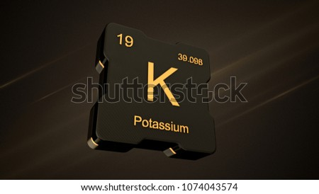 potassium element number 19 from the periodic table on futuristic black icon and nice lens flare - Periodic Table Atomic Number 19