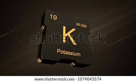 Potassium element number 19 periodic table stock illustration potassium element number 19 from the periodic table on futuristic black icon and nice lens flare urtaz Choice Image