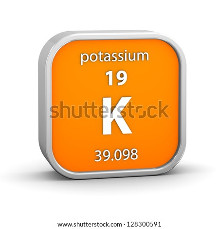 Potassium material on the periodic table. Part of a series. - stock photo