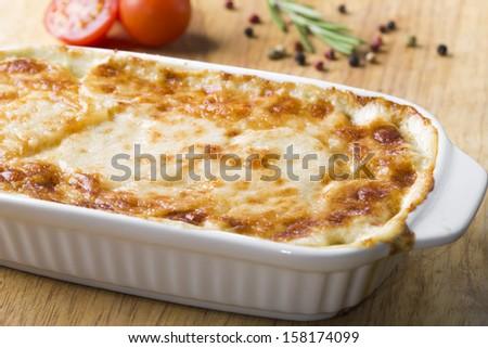 potato casserole with cheese - stock photo