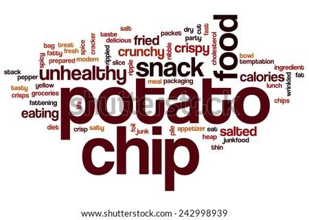 Potato chip word cloud concept with food snack related tags - stock photo