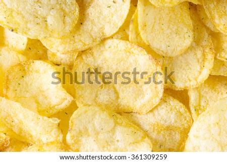 Potato chips background close-up