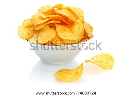Potato chips bowl on a white background - stock photo
