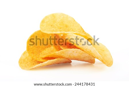 Potato Chips close-up, isolated on a white background
