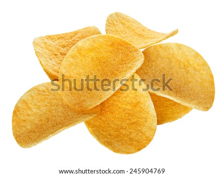 Potato Chips close-up, isolated on a white background - stock photo