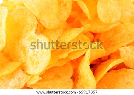 Potato chips closeup - stock photo