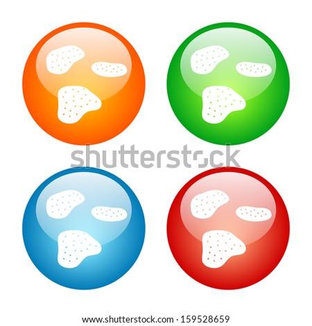 Potato Chips Icon Glass Button Icon Set.  Raster version. - stock photo