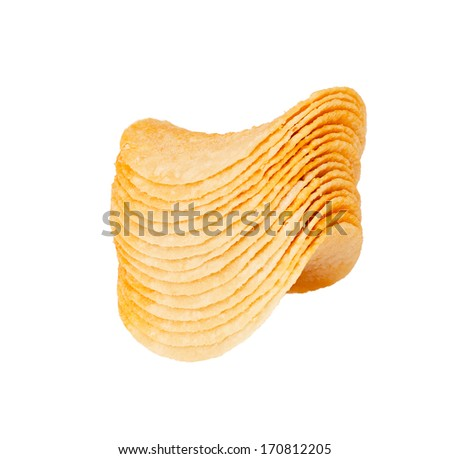 Potato chips in a stack isolated on white