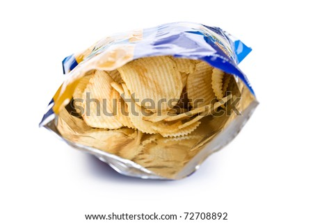 potato chips in bag on white background - stock photo