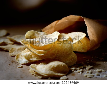 potato chips in bags - stock photo