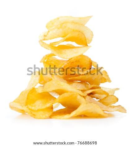Potato chips isolated on white - stock photo