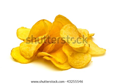 potato chips isolated on white background - stock photo