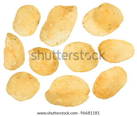 Potato chips isolated on white, closeup view - stock photo
