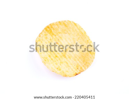 Potato chips isolated on white with clipping path - stock photo