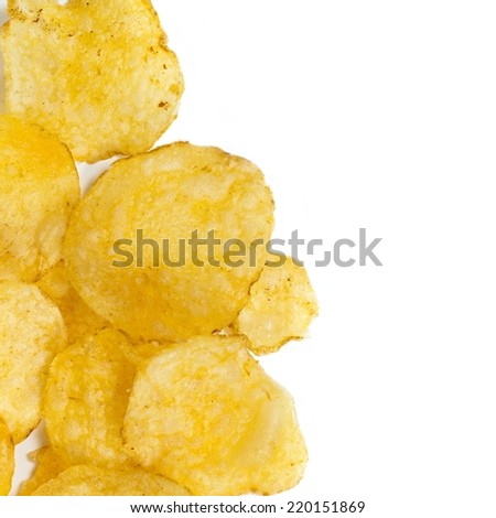 Potato chips. Macro. Selective focus. - stock photo