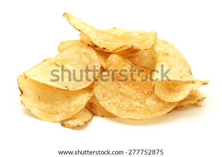 Potato chips on a white background - stock photo