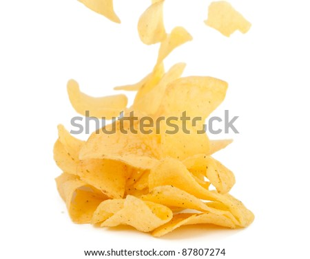 potato chips on a white background - stock photo