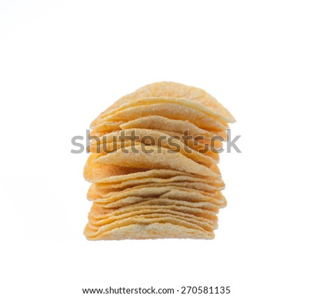 Potato chips on white background.
