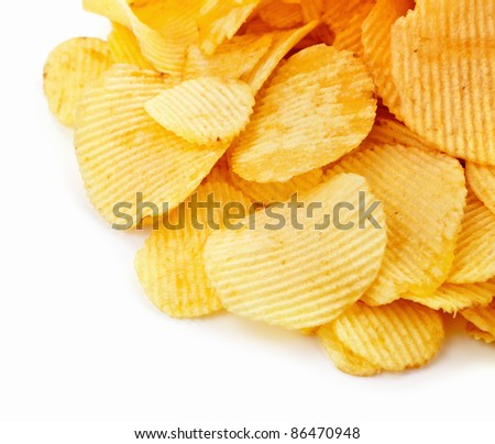 Potato chips on white background with copy space - stock photo