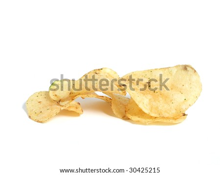 Potato chips over white