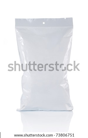 potato chips plastic pack. isolated over white background - stock photo