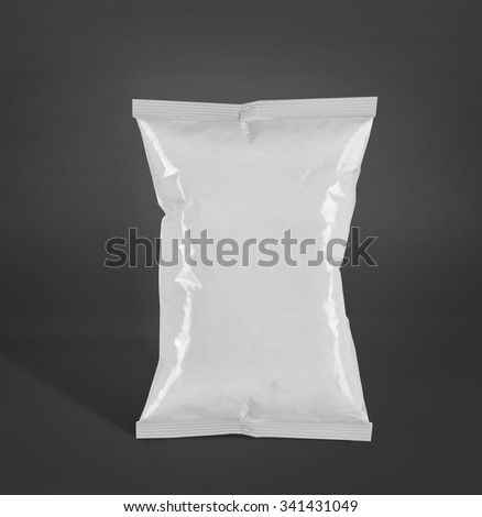 potato chips plastic packaging or food container. mockup over grey background - stock photo
