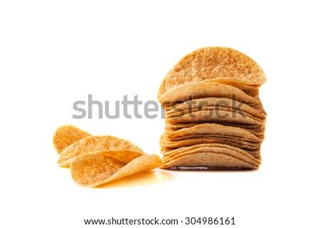 potato chips stack on white background - stock photo