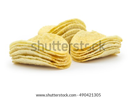 Potato chips stacks isolated on white background. Clipping path included in jpeg.