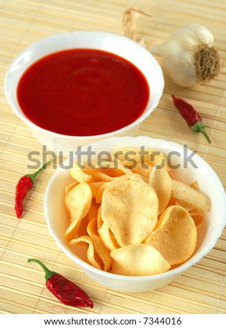 potato chips with hot salsa dip