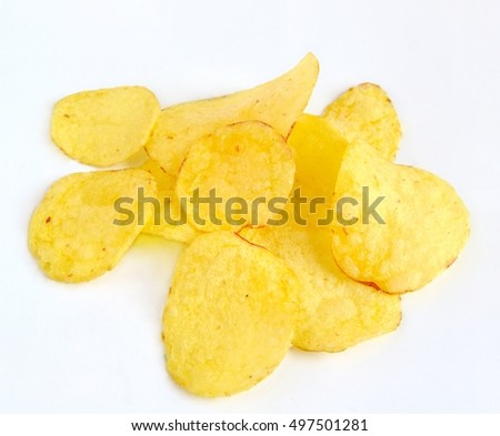 Potato chips with meter on white background