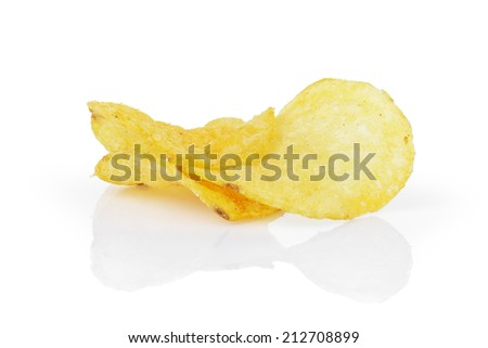 potato chips with paprika, isolated on white