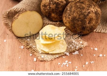 potato chips with salt  - stock photo