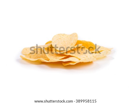 Potato chips with spices. Isolated on white background. - stock photo