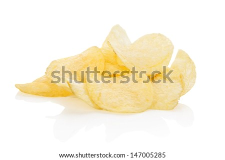 Potato crisps isolated on white background. Unhealthy eating. - stock photo