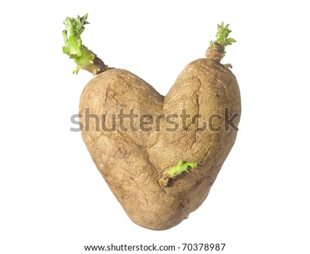 potato heart isolated on white background