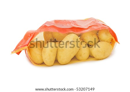Potato in a bag isolated on white - stock photo