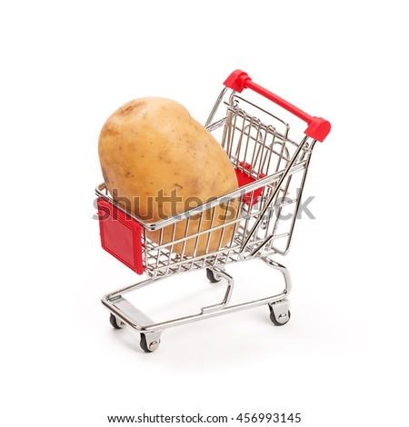 potato in shopping cart isolated on white - stock photo