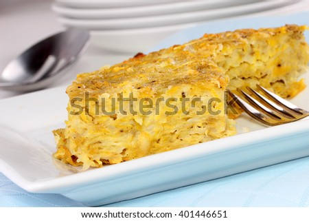 Potato kugel - stock photo