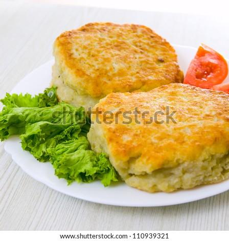 potato pancake stuffed with meat - stock photo