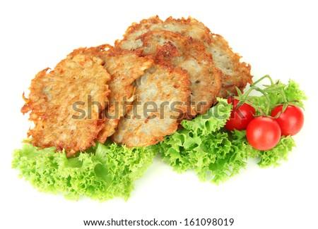 Potato pancakes, isolated on white - stock photo