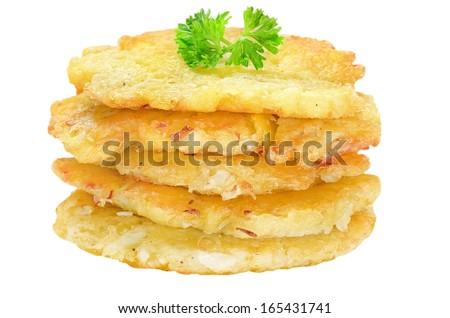 Potato pancakes isolated on white background - stock photo