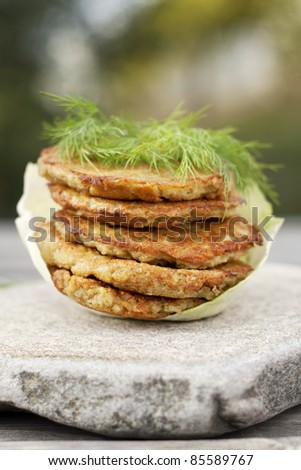 potato pancakes on stone