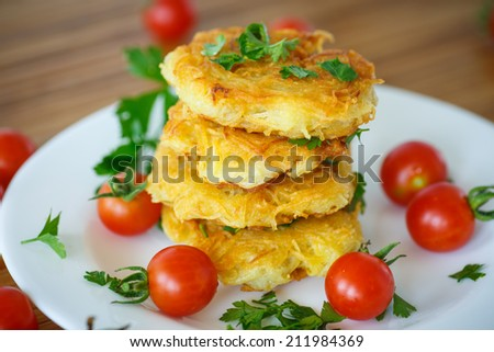 potato pancakes with cherry tomatoes on a plate