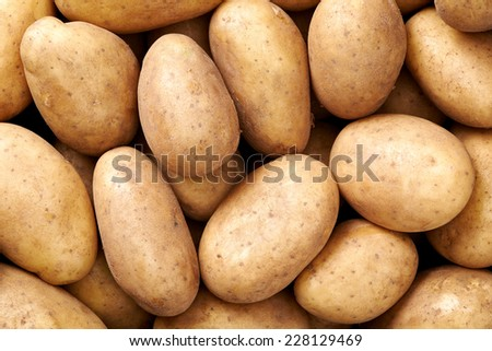 potato Raw fruit and vegetable backgrounds overhead perspective, part of a set collection of healthy organic fresh produce - stock photo