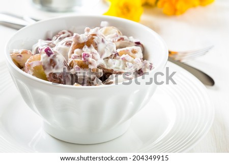 Potato salad made with  boiled baby potatoes, mayonnaise, mustard and chopped red onion. American-style potato salad - stock photo