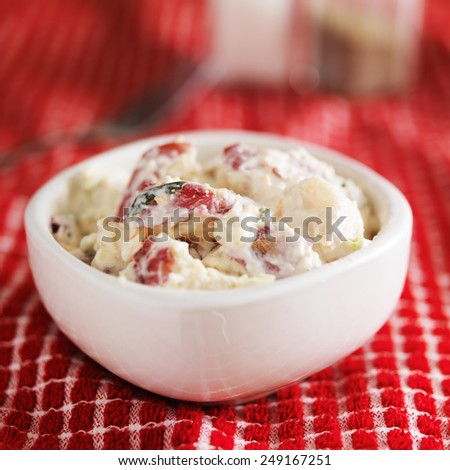 potato salad shot with selective focus - stock photo