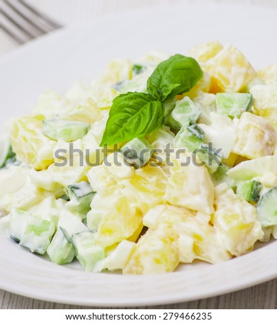Potato salad with onions and cucumber with a mayonnaise-cream dressing - stock photo