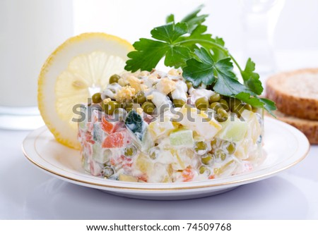 potato salad with parsley and lemon