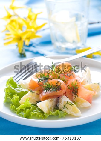 Potato salad with smoked salmon and lettuce - stock photo