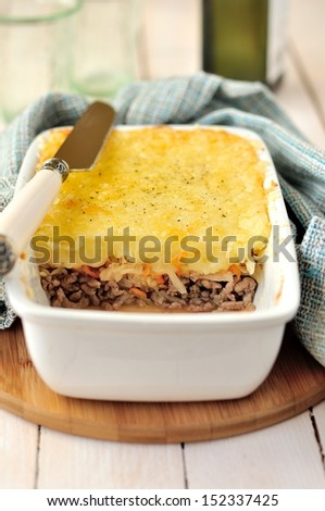 Potato, Sauerkraut and Meat Bake - stock photo